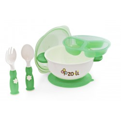 Zoli Stuck Suction Feeding Bowl Kit - Green