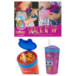 Nuby Snack N' Sip with Straw Cup 12m+ - Pink...