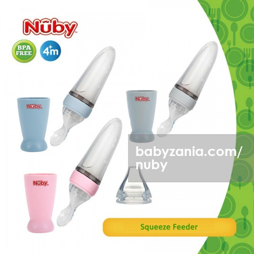 Nuby All Silicone Squeeze Feeder - Pink / Grey / Blue
