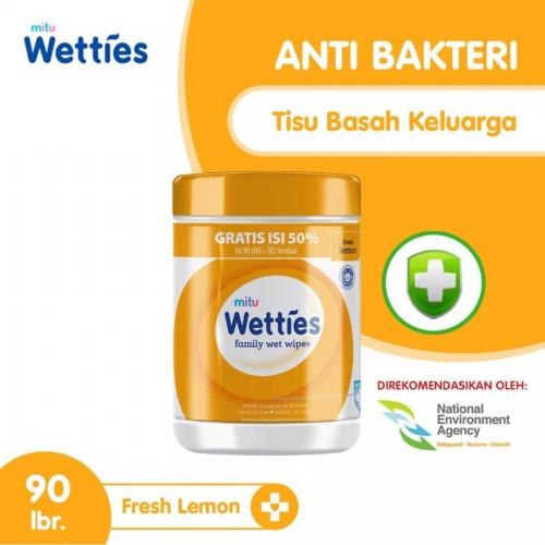 Mitu Wetties Tisu Basah Botol 90 Sheet - Fresh Lemon