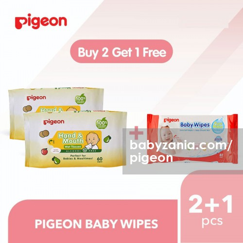 Pigeon Baby Hand and Mouth Wet Tissue 60 Sheets - PROMO BUY 2 GET 1 Pure Water Wipes 82s