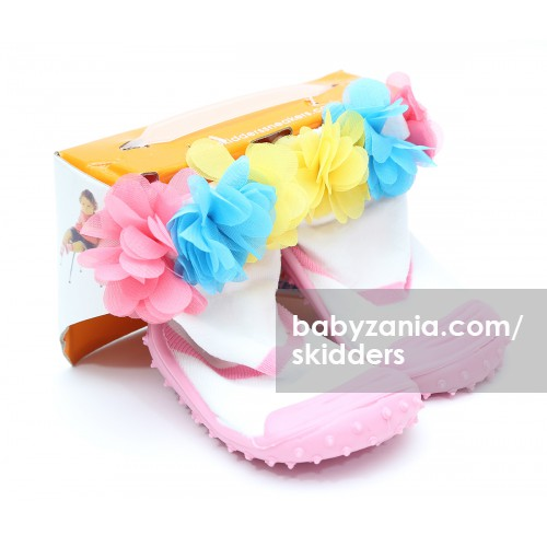 Skidders Rubber Flexible Shoes - Pink White with Flowers