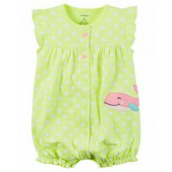 Carter's Baby Romper - Green Polka with Whale