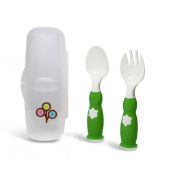Zoli Fork & Spoon Set 6m+ - Green