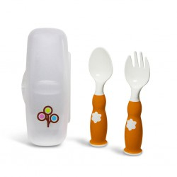 Zoli Fork & Spoon Set 6m+ - Orange