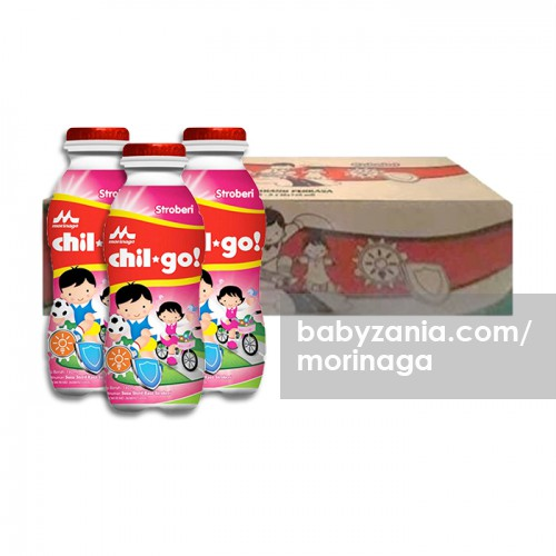 Morinaga Chil Go Strawberry 140ml - 1 Karton isi 36 pcs