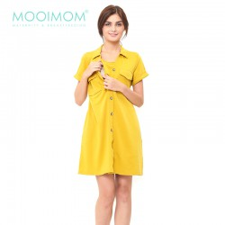 MOOIMOM Yellow Nursing Dress Baju Hamil Menyusui - Yellow