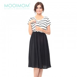 MOOIMOM Tulle Midi Nursing Dress Baju Hamil...