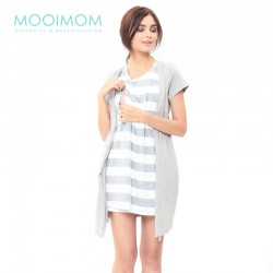 MOOIMOM Fake Two Piece Nursing Dress Baju Hamil...