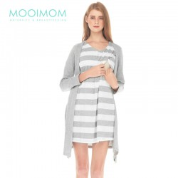 MOOIMOM Fake Two Piece Long Sleeve Nursing Dress Baju Hamil Menyusui - Grey