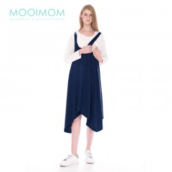 MOOIMOM 2 Piece Swing Long Sleeve Maternity & Nursing Dress Baju Hamil Menyusui - Navy