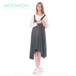 MOOIMOM 2 Piece Swing Long Sleeve Maternity & Nursing Dress Baju Hamil Menyusui - Grey