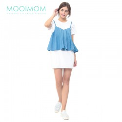 MOOIMOM Denim Vest One-Piece Nursing Dress Baju...