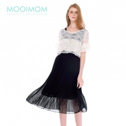MOOIMOM Lace Flare Sleeve Two-Piece Nursing Dress...