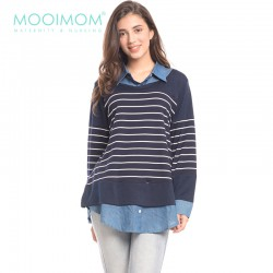 MOOIMOM Navy Striped Vest Long Sleeves Nursing...