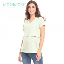 MOOIMOM Light Green V-Neck Nursing Top Baju Hamil...