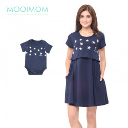 MOOIMOM Starry Sky Nursing Dress & Baby...