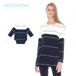 MOOIMOM Navy & White Striped Cotton Nursing...