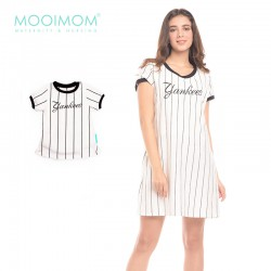 MOOIMOM One Piece Vertical White Striped Couple...