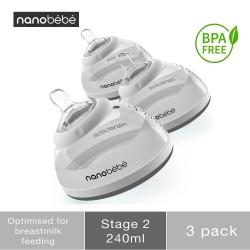 Nanobebe Breast Milk Bottle Triple Pack Grey...