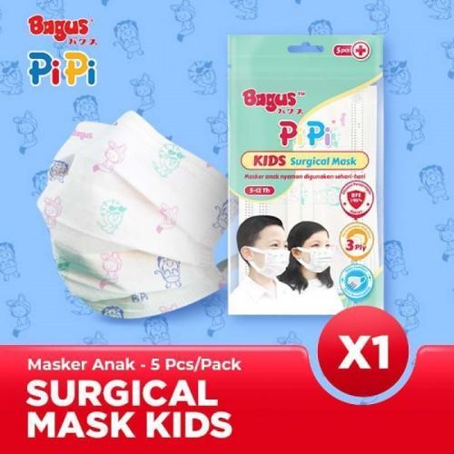 Bagus Pipi Kids Surgical Mask Earloop 3ply Masker Anak Sachet - 5 Pcs