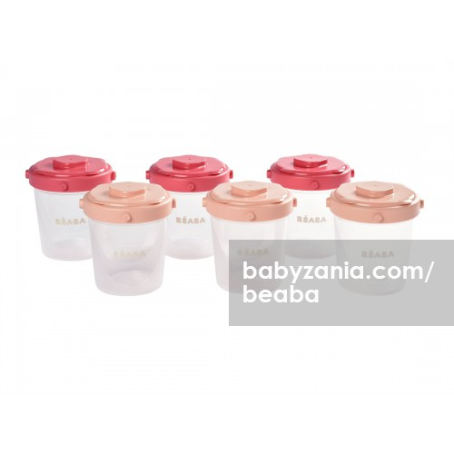 Beaba Set 6 Portions Clip Food Storage Container 200ml - Pink