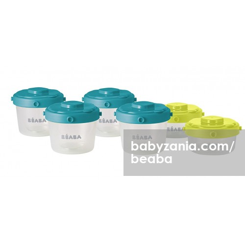 Beaba Set 6 Portions Clip Food Storage Container 60ml & 120ml - Blue Neon
