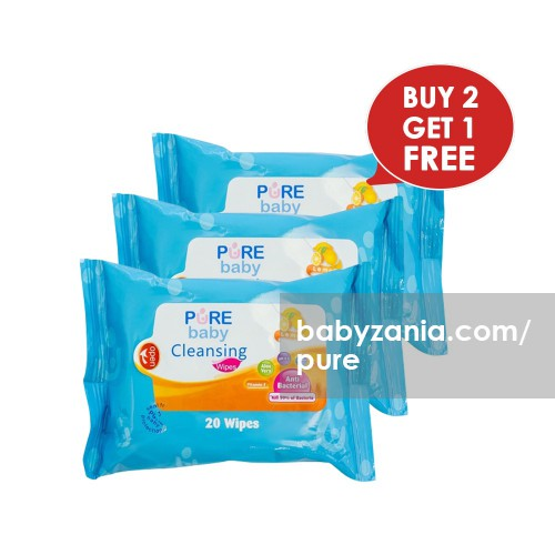 Pure Baby Cleansing Wipes Lemon 20's Buy 1 Get 2