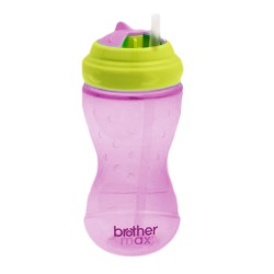 Brother Max Swivel Straw Bottle Twist & Go Sipper 360ml - Pink Green