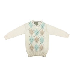 Cribcot Knit Warmer Boy - Sweater Argyle Milk...