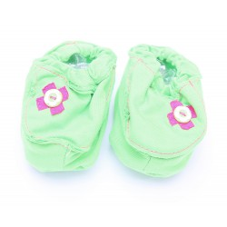 Cribcot Booties with Ribbon - Lime Green &...