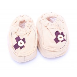 Cribcot Booties with Ribbon - Milk Choc &...