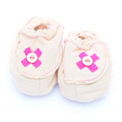 Cribcot Booties with Ribbon - Milk Choc & Hot Pink