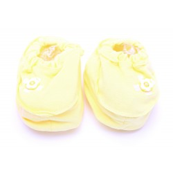 Cribcot Booties with Ribbon - Yellow & Broken White