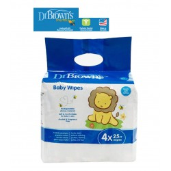Dr. Brown's Natural Baby Wipes 4 x 25 Wipes