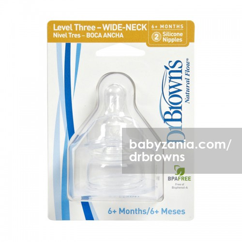 Dr. Brown's Wide Neck Option Silicone Nipple 2 Pack - Level 3 (6m+)