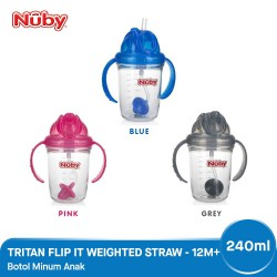 Nuby Tritan Flip It Weighted Straw Cup Gelas...