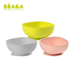 Beaba Silicone Suction Bowl - Pink / Green / Grey