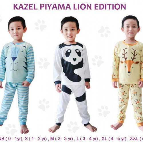 Kazel Piyama 3 Pack Boy - Lion Edition (Size NB atau S)