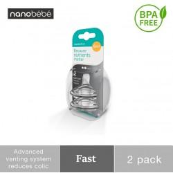 Nanobebe Replacement Nipple - Dot Fast 6M+