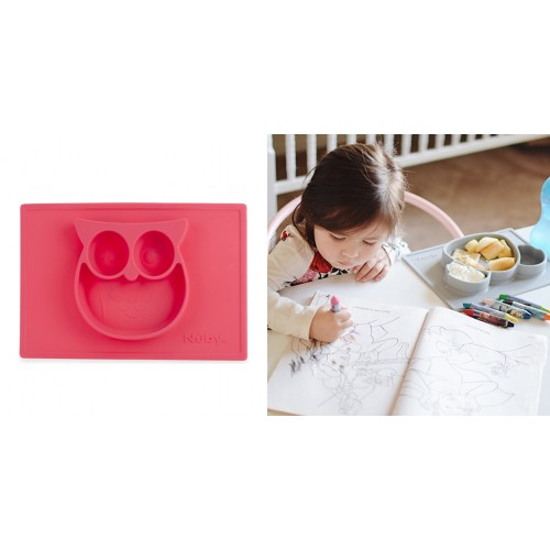 Nuby Large Silicone Placemat 6m+ - Pink Owl
