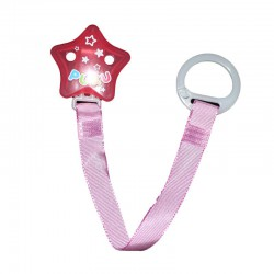 Puku Pacifier / Soother Clipper - Pink Star