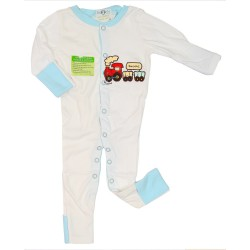 Imochi Sleepsuit Panjang - Blue White Train