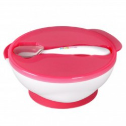 Kidsme Suction Bowl With Ideal Spoon Set - Pink